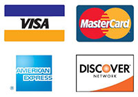 We Accept VISA, Mastercard, Discover, and American Express Credit Cards
