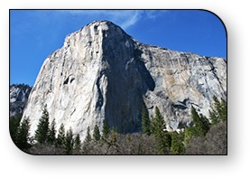 Yosemite National Park's massive El Capitan is a 3,000-foot wall of solid granite, and a favorite of technical mountain climbers, who camp out on its face as part of their climb.