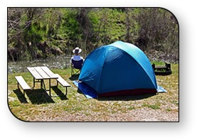High Sierra RV Park in Oakhurst, California has great river-front tent sites, near Yosemite National Park area.