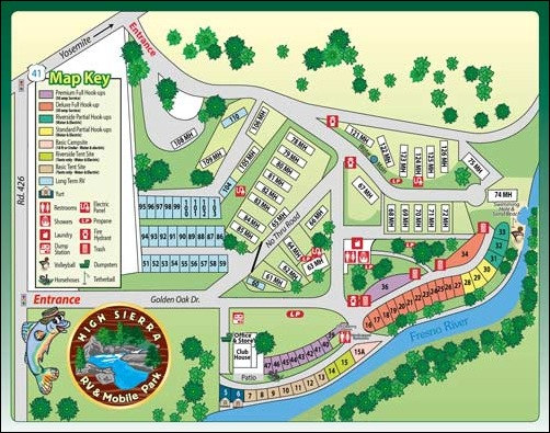 View our park map to plan your stay at High Sierra RV & Mobile Park near Yosemite National Park.